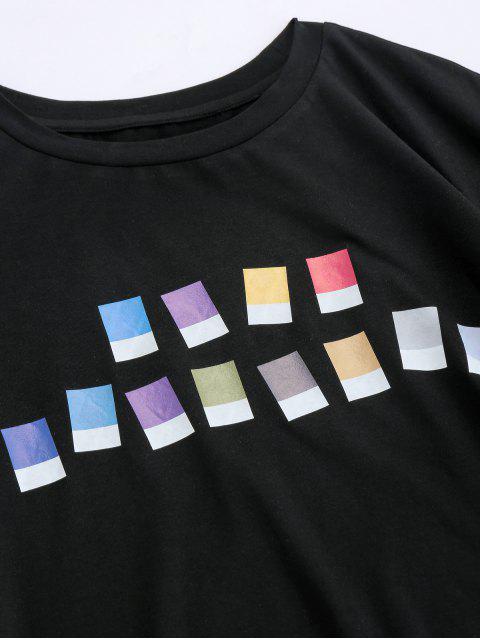 ZAFUL T-shirt de Manga Curta com Impressão Geométrica - Preto 2XL Mobile