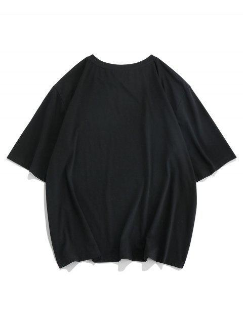 lady ZAFUL Airplane Graphic Print Short Sleeve T-shirt - BLACK 2XL Mobile