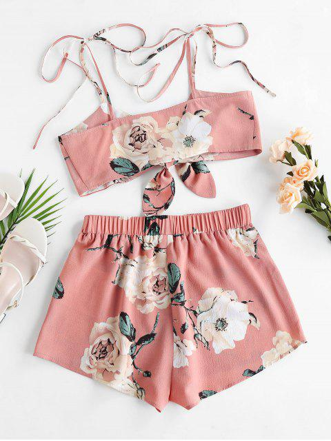 trendy ZAFUL Flower Tie Shoulder Knotted Two Piece Set - PINK ROSE L Mobile