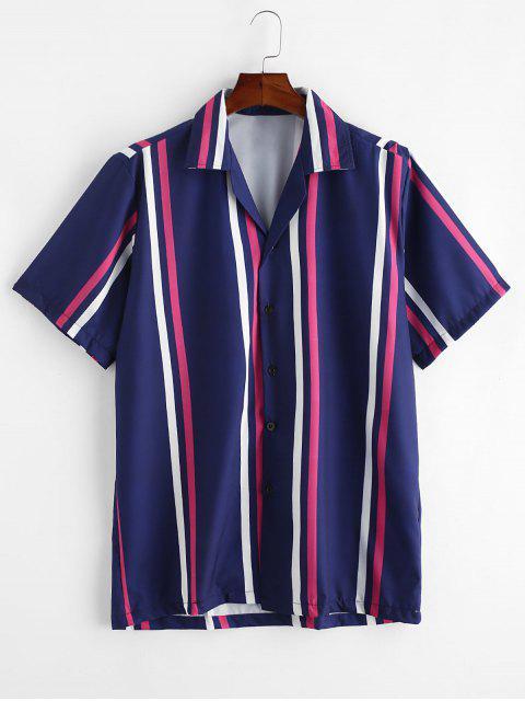 women Striped Button Up Short Sleeve Shirt - DEEP BLUE S Mobile