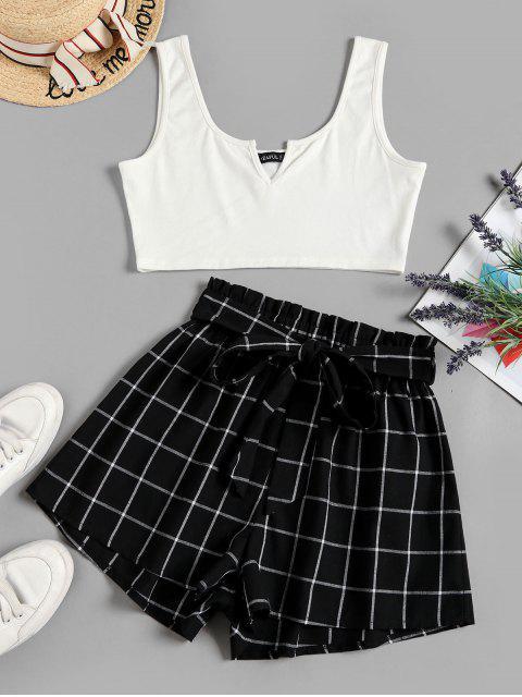 latest ZAFUL V Notched Grid Paperbag Shorts Set - BLACK M Mobile