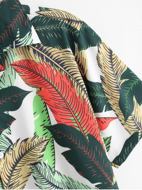 Tropisches Blatt Alloverdruck Knopf Ferien Hemd - Multi-A 2XL Mobile