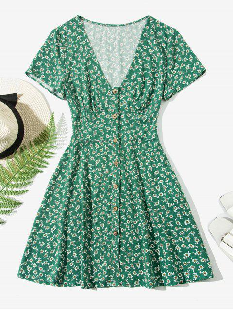 chic ZAFUL Ditsy Floral Button Up Mini Dress - MEDIUM SEA GREEN S Mobile
