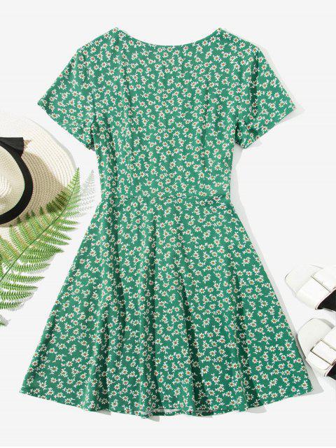 sale ZAFUL Ditsy Floral Button Up Mini Dress - MEDIUM SEA GREEN XL Mobile