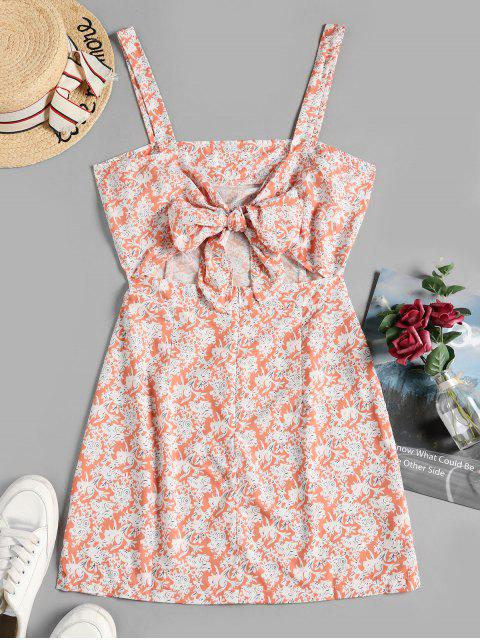 affordable Floral Print Knotted Back Sleeveless Dress - MULTI-A XL Mobile