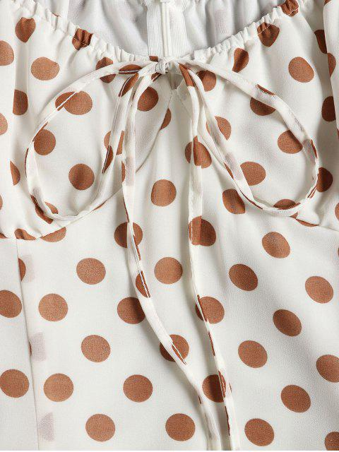 outfit Tied Polka Dot A Line Dress - WHITE L Mobile