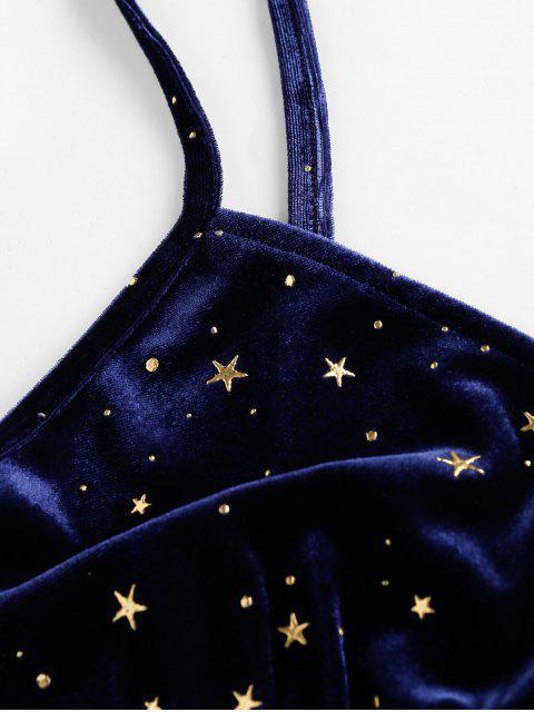 ZAFUL Camisole Estrelas Veludo Cortado Cortado - Azul de Ardósia Escura XL Mobile