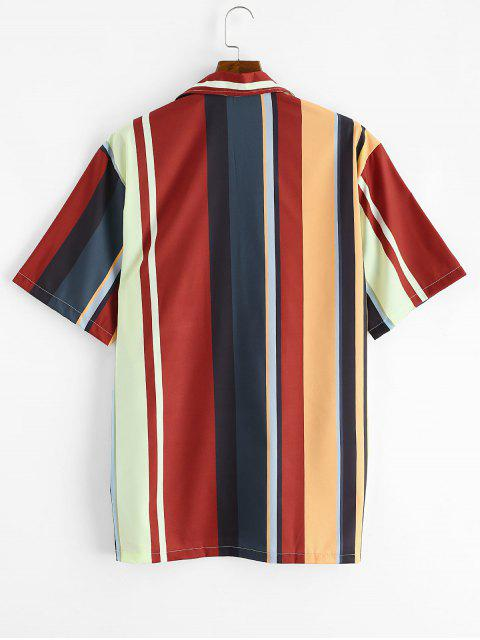 womens Colorblock Stripes Button Up Shirt - MULTI-A M Mobile