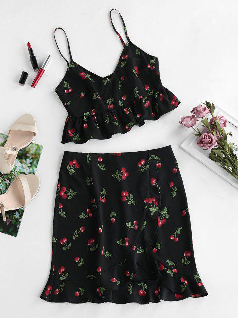 trendy ZAFUL Cherry Print Smocked Ruffle Tulip Skirt Set - BLACK M Mobile