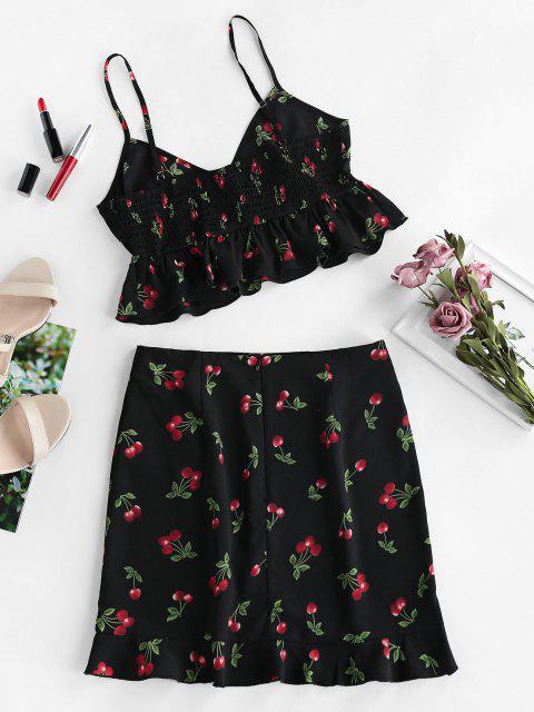 new ZAFUL Cherry Print Smocked Ruffle Tulip Skirt Set - BLACK S Mobile