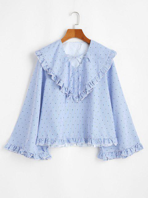 buy Wide Sleeve Wide Collar Blouse - SKY BLUE M Mobile