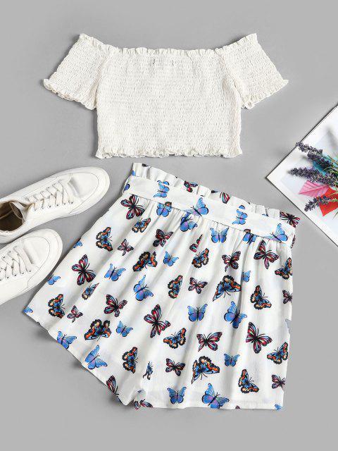 ZAFUL Schulterfreies Kittel Top und Schmetterlingdruck Zweiteiler Set - Weiß S Mobile
