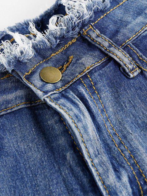 hot Buckled Cutout Frayed Denim Shorts - STEEL BLUE M Mobile