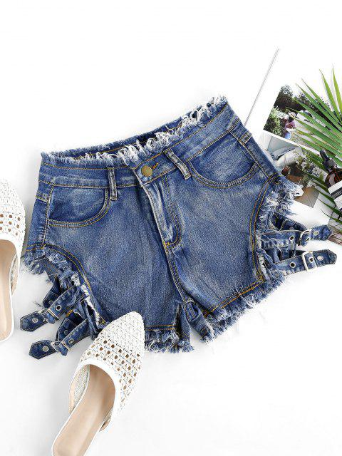 outfit Buckled Cutout Frayed Denim Shorts - STEEL BLUE S Mobile