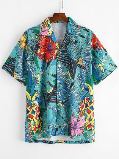 Tropical Flower Leaf Print Button Vacation Shirt - Macaw Blue Green S