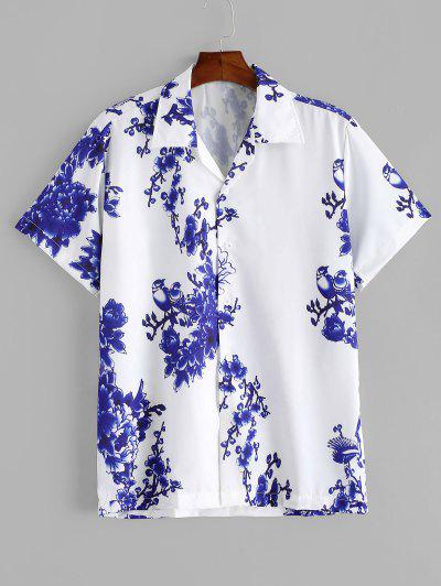 Flower Print Button Vacation Shirt - White L