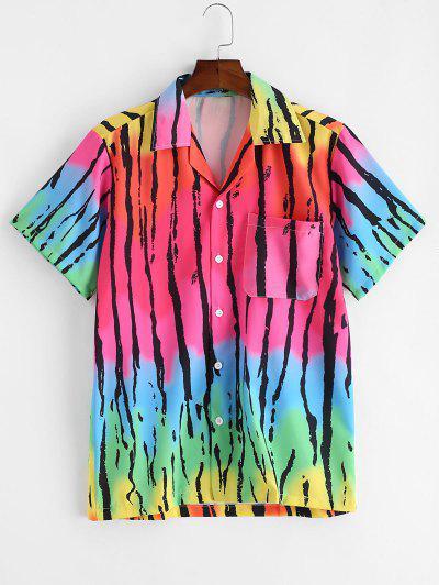 Chemise Boutonnée Rayée Ombrée Imprimée Avec Poche Poitrine - Multi-a L