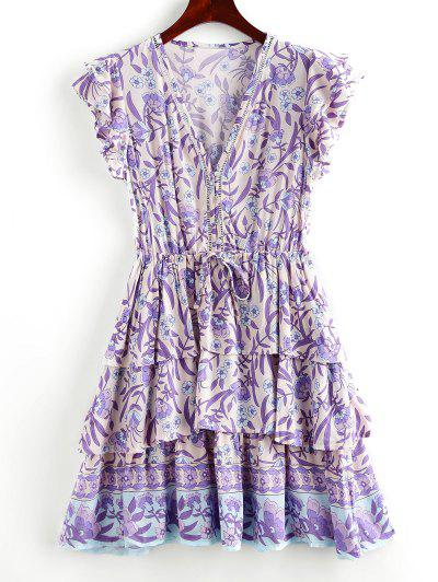 Button Loop Tie Waist Floral Layered Dress - Purple M