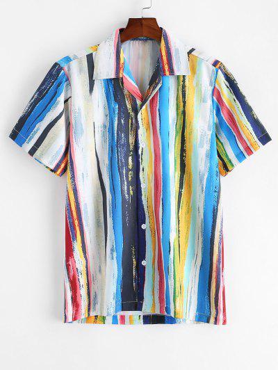 Striped Painting Print Short Sleeve Button Shirt - Multi-a L