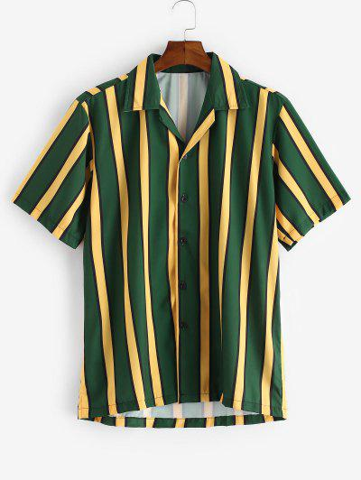 Color Blocking Stripes Button Shirt - Dark Forest Green M