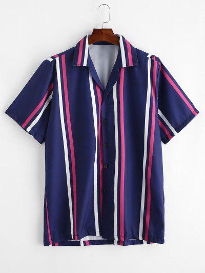 Camisa Rayada Manga Corta Y Botones - Azul Profundo S