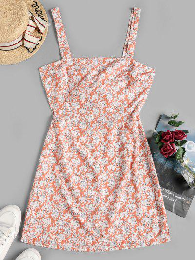 Floral Print Knotted Back Sleeveless Dress - Multi-a S