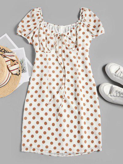 Tied Polka Dot A Line Dress - White L