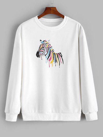 Zebra Painting Print Sweatshirt - White 2xl