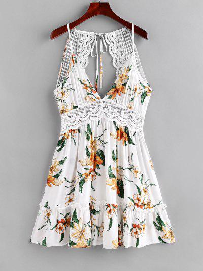 ZAFUL Floral Lace Panel Backless Cami Dress - Milk White M