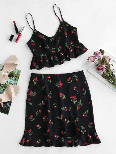 ZAFUL Cherry Print Smocked Ruffle Tulip Skirt Set - Black M