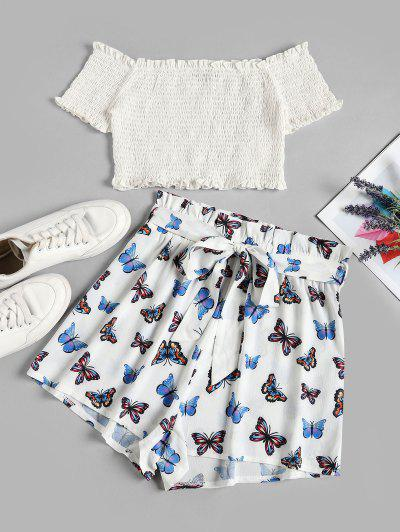 ZAFUL Off Shoulder Smocked Butterfly Print Two Piece Set - White S
