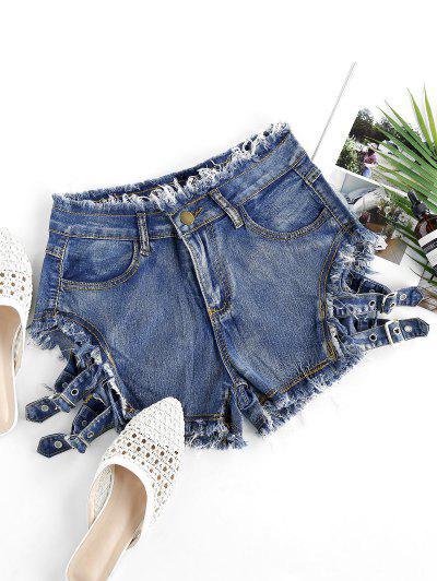 Buckled Cutout Frayed Denim Shorts - Steel Blue S