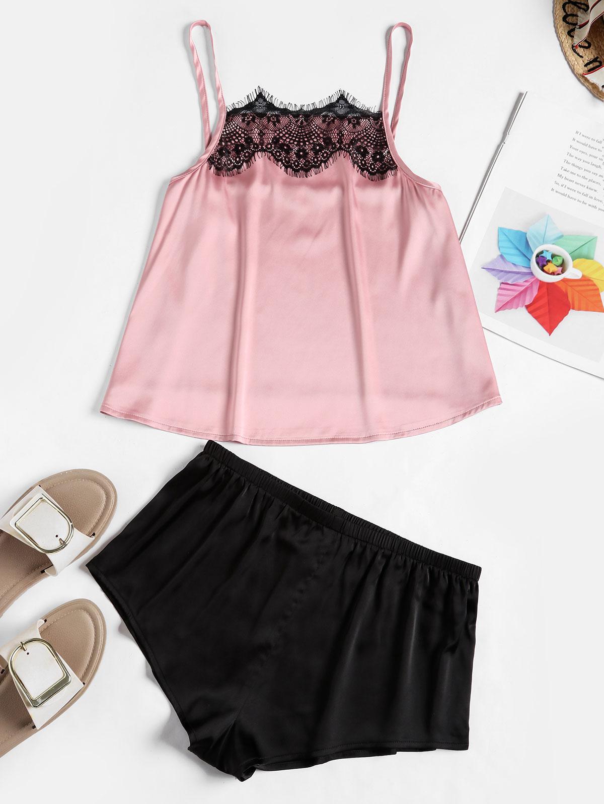 ZAFUL Lace Insert Colorblock Silky Pajama Shorts Set