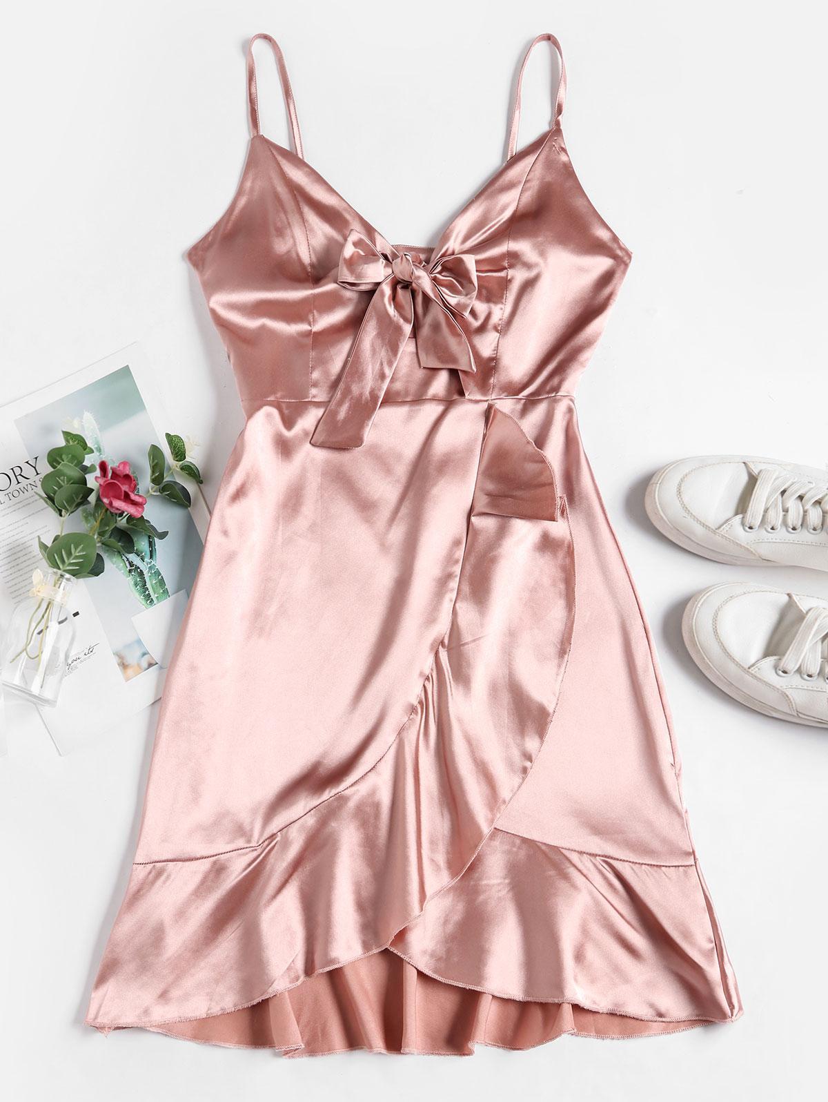 ZAFUL Tie Front Ruffle Satin Cami Dress
