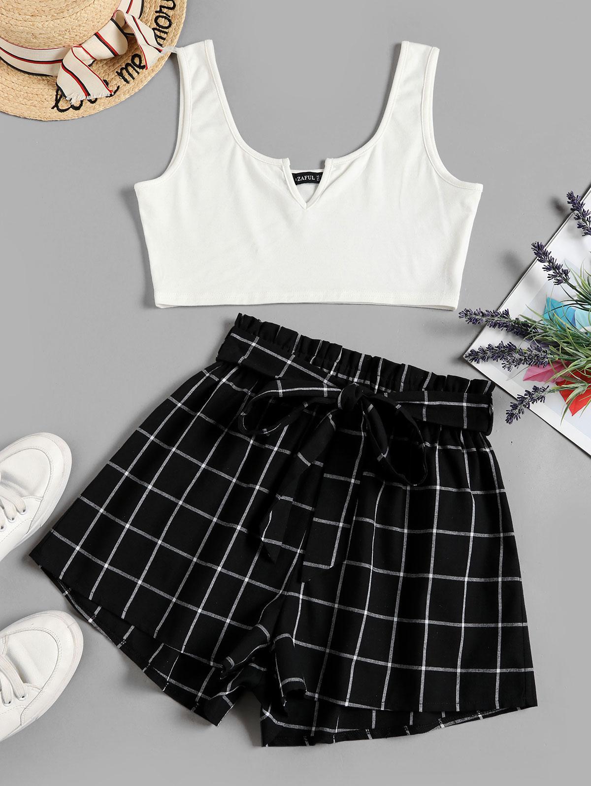 ZAFUL V Notched Grid Paperbag Shorts Set thumbnail
