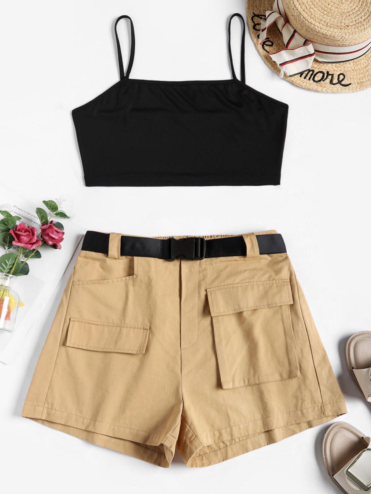 ZAFUL Colorblock Belted Cargo Shorts Set