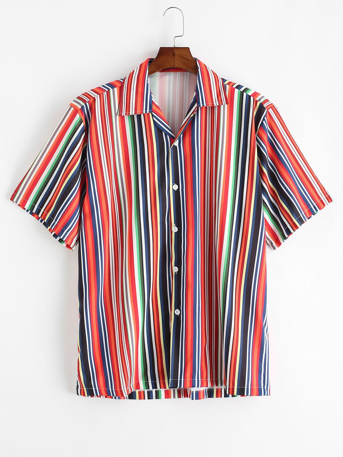 Short Sleeve Stripes Button Up Shirt