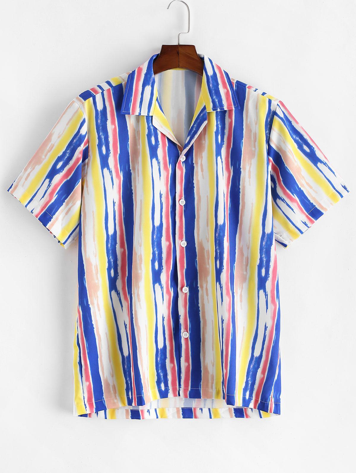 Tie Dye Striped Button Short Sleeve Shirt фото