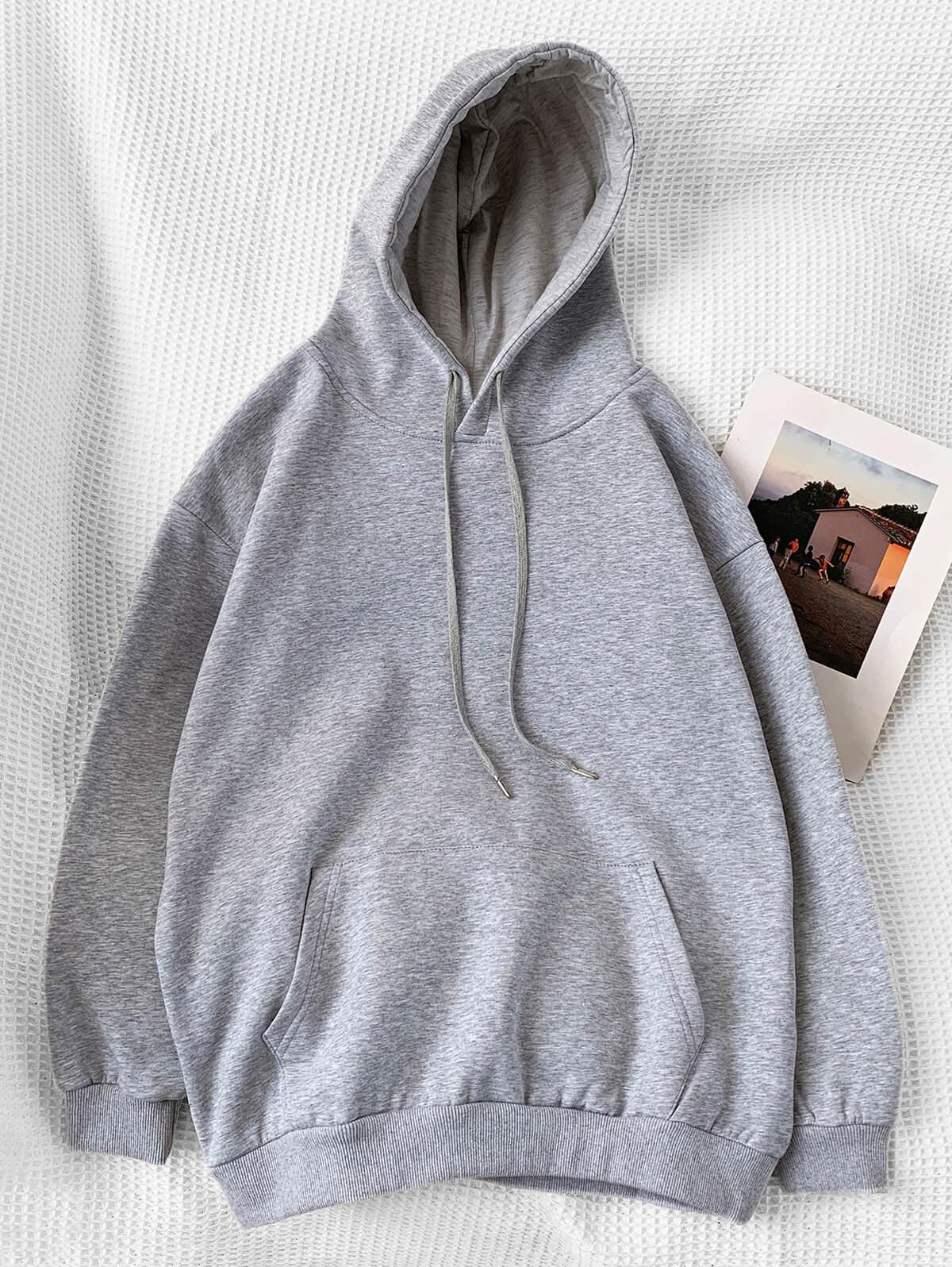 Casual Solid Color Pouch Pocket Hoodie фото