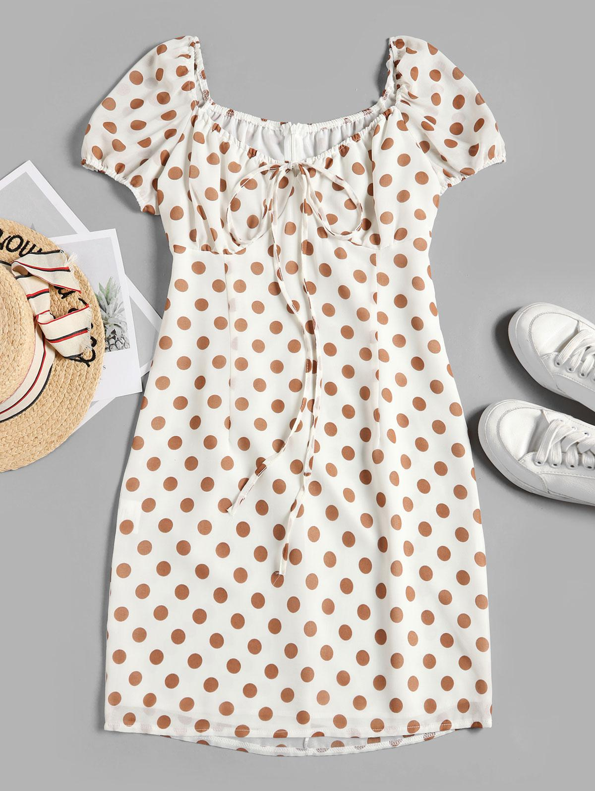 Tied Polka Dot A Line Dress