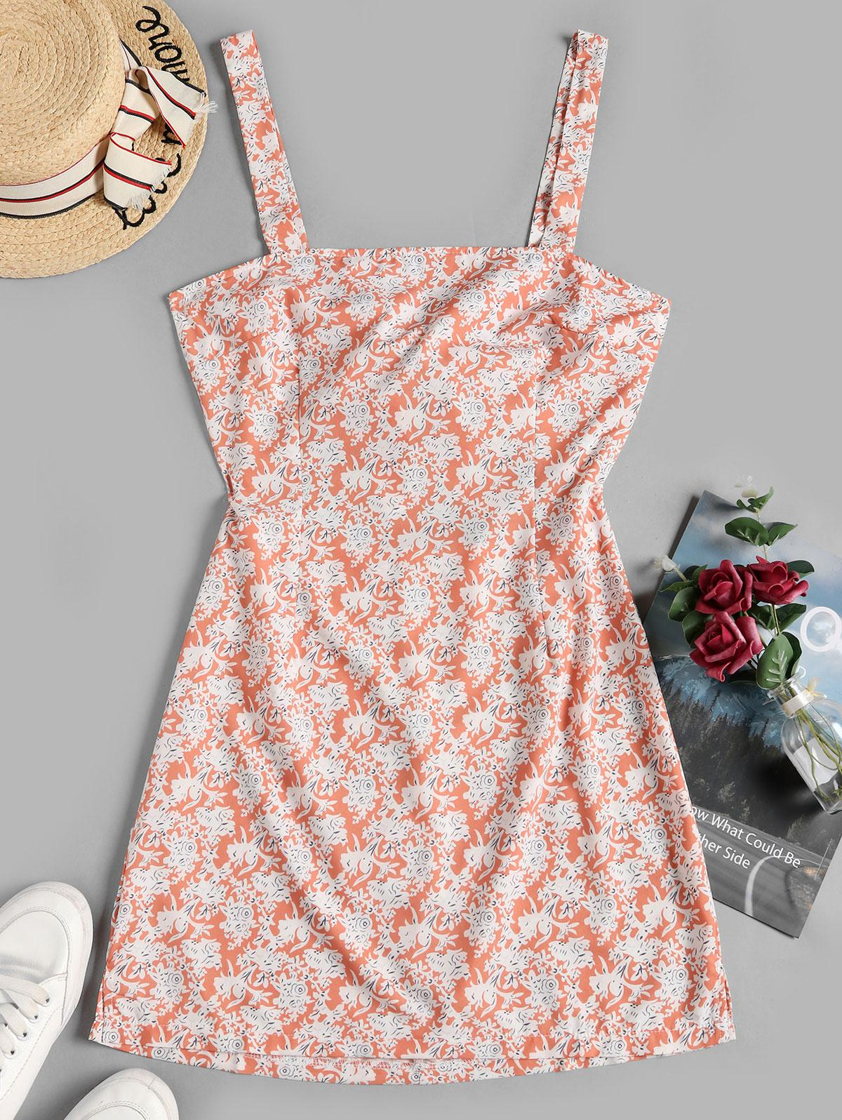 Floral Print Knotted Back Sleeveless Dress