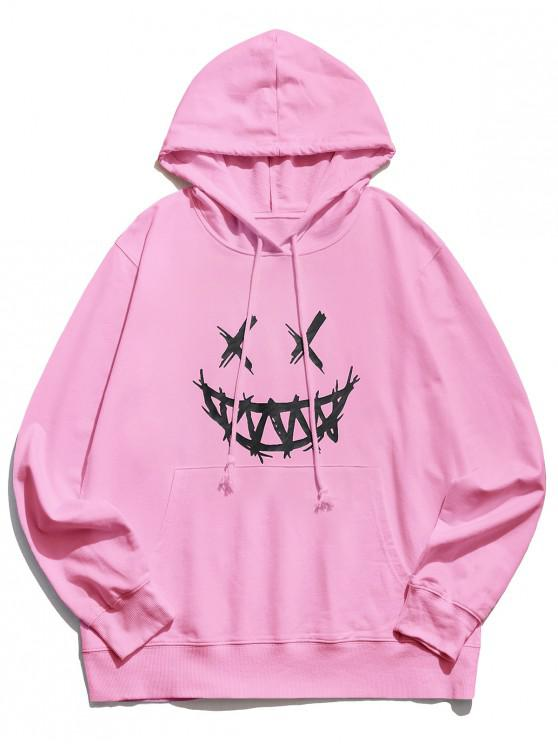 outfits Happy Face Graphic Pouch Pocket Casual Hoodie - PINK S