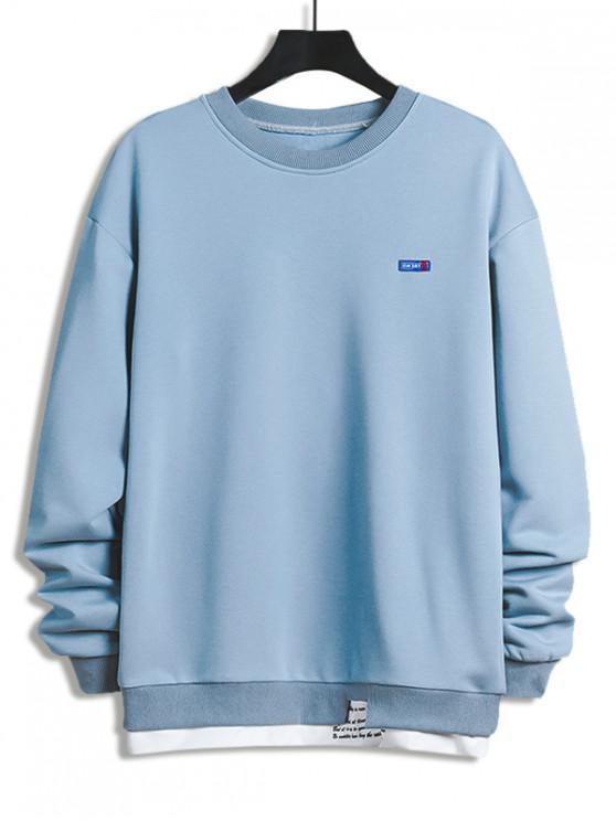online Letter Print Colorblock Splicing Sweatshirt - LIGHT SKY BLUE L