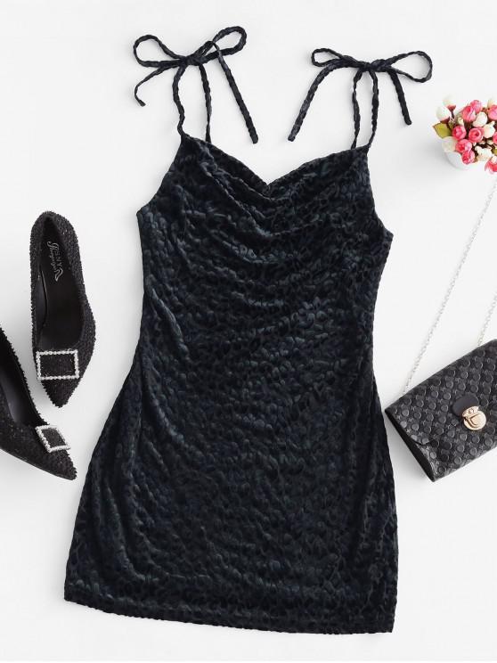 outfit Tie Shoulder Leopard Flocked Mini Dress - BLACK M