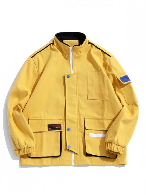 womens Flap Pockets Stand Collar Casual Twill Jacket - YELLOW XL