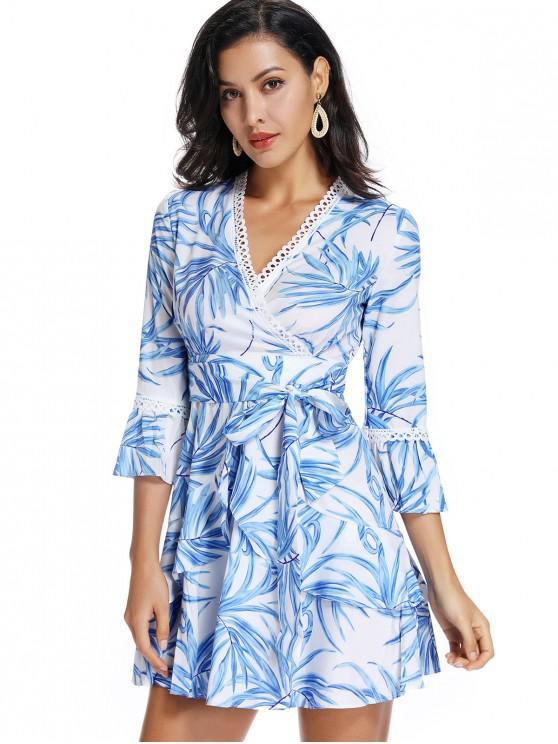 best ZAFUL Ruffle Waist Tie Leaf Print Surplice Dress - WHITE L