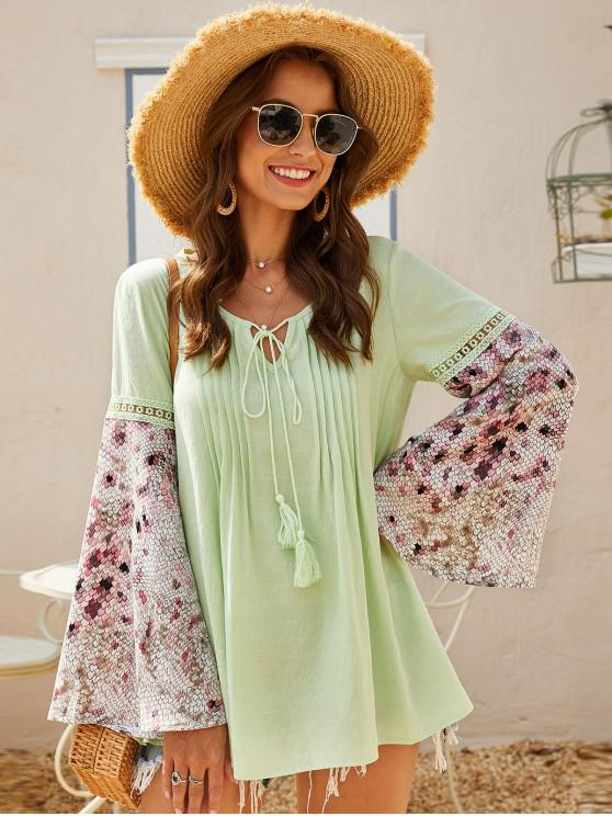 shop ZAFUL Pintuck Tie Bell Sleeve Peasant Blouse - SALAD GREEN L