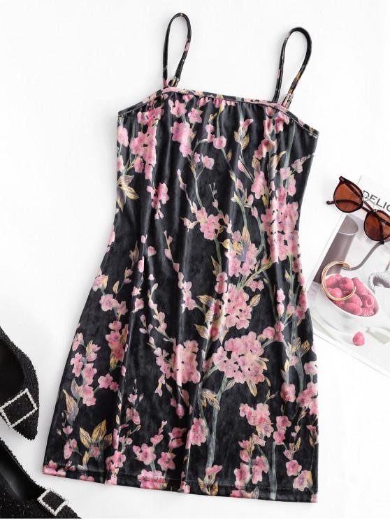 hot ZAFUL Cami Velvet Oriental Floral Mini Dress - MULTI-A XL
