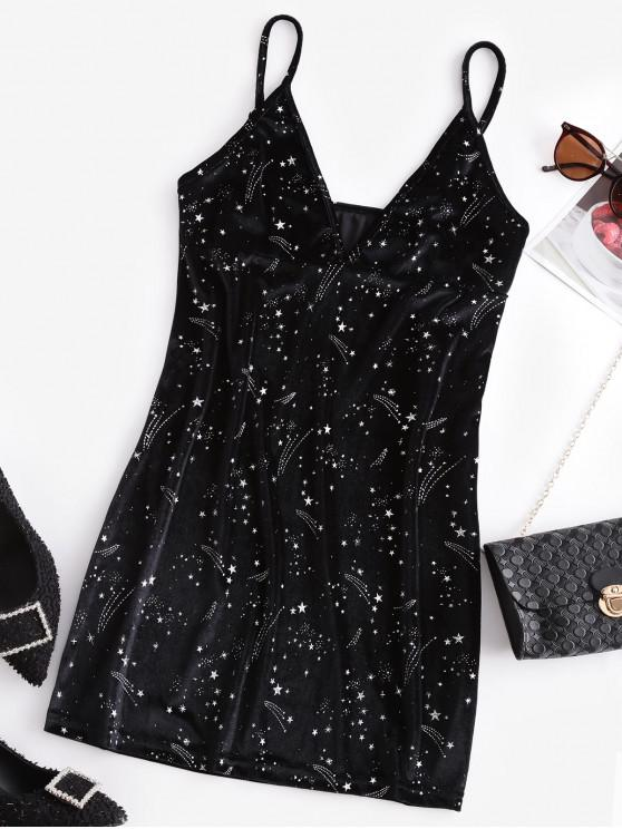 shops ZAFUL Velvet Sparkly Glittery Star Party Dress - BLACK L