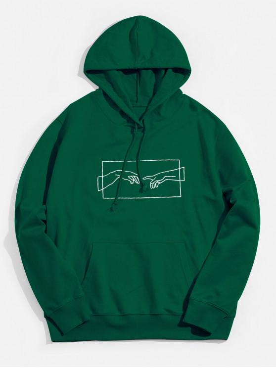 women's Helping Hand Graphic Kangaroo Pocket Drawstring Hoodie - JUNGLE GREEN 2XL